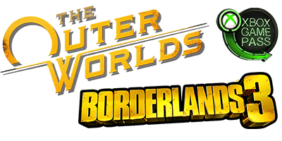 The Outer Worlds, Borderlands 3, and Xbox Game Pass logos