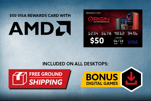 Free Shipping on All Desktops PLUS $50 Rewards Card with AMD Ryzen