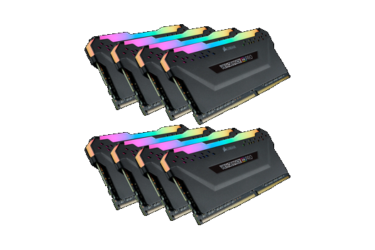 256GB CORSAIR VENGEANCE RGB PRO 3200MHz (8x32GB)